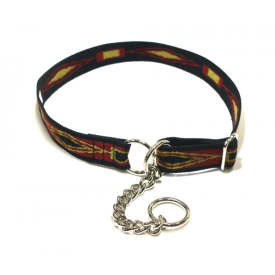 Webbing Collar, Easy-Fit No Buckle, Black, Red and Yellow Pattern