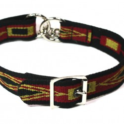 Webbing Collar With Buckle, Red Yellow and Black Pattern