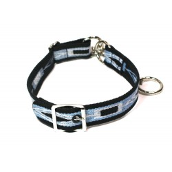 Webbing Collar With Buckle, Navy Blue, Blue and White Pattern